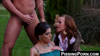 Stud Pisses On And Fuck Two Girls